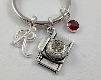 Camera Keychain, Photographer Gift, Photographer Keychain, Personalized Keychain, Custom Keychain, Birthstone Keychain, Initial Charm,