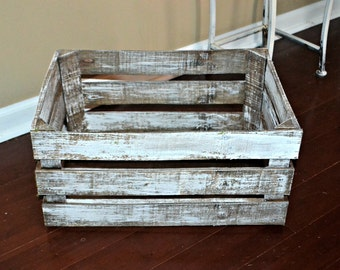 Rustic Stained and White Washed Wood Crate, Wedding, Anniversary Gift, Toy Box or Book Storage