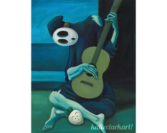 The Shy Guitarist - Shy Guy Painting - Pablo Picasso Print - Alternative Old Guitarist - Nintendo Gift for Gamer - Katie Clark Art