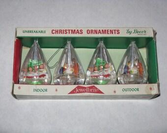 Vintage set of Jewel Brite plastic Christmas tree ornaments mid century modern