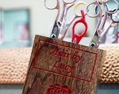 Stylist Scissor Case ~ CUSTOMIZE with Logo, Wood Species, Stain Preference ~ Add Style to your Workstation!  (Scissors Not Included)