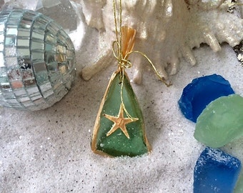 Sea Glass Ornament.  Adorable pieces of sea glass wrapped in gold with delicate gold cord for hanging.  So cut!  Colors Vary (5)