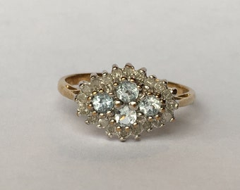 Champagne Diamond Ring with White Diamond in 9K Gold 0