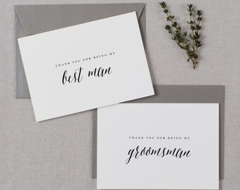 6 x Thank You For Being My Groomsman, Thank You Cards, Best Man Thank You Card, Best Man Card, Thank You Wedding Cards, Thank You Card, K7