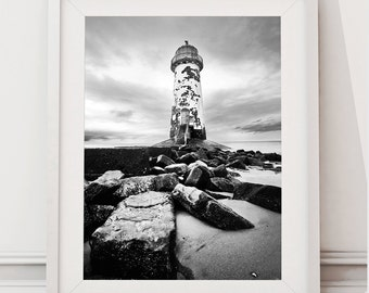 Instant Digital Download, Black and White Lighthouse Seascape, Fine Art photograph, also available as a print. Downloadable images