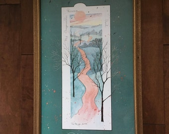Vintage Framed D Morgan Print, D Morgan My Impossible Dream... Isn't, Dreams Come True