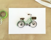 Quilling Paper Green Bicycle with Brown Basket, Vintage Bicycle Decor, Cycling Art, Gift for Bicyclist, Bike Kitchen Decoration