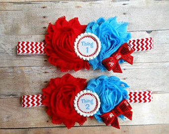 Thing One Thing Two twin Headband Set! Dr. Suess headband, Chevron Thing one Thing Two, Twin Headbands, Dr. Suess Birthday, Newborn Twin