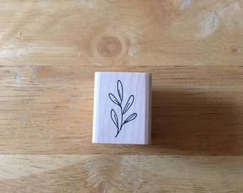 Tiny Leaf Used Rubber Stamp