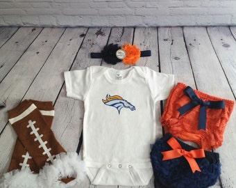 Denver Broncos baby outfit -Broncos baby girl set -Broncos onesie - Broncos headband