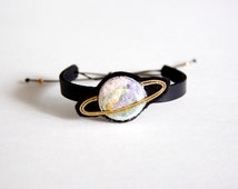 Handmade Metal with Felt Embroidery Leather Bracelet, Bangles, Planet Pattern(Gold Ring)