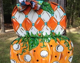 Pumpkin, Harvest, Fall, Stacked pumpkin, Thanksgiving, Door Hanger, Door Decor