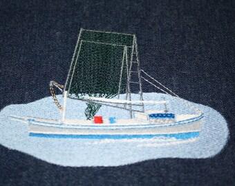 Shrimp boat machine embroidery design