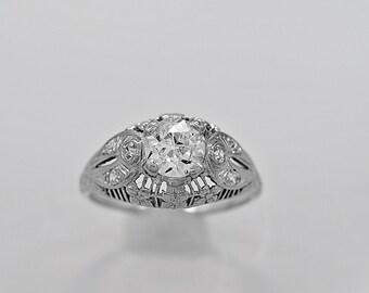 Antique Engagement Ring 1.00ct. Diamond & Platinum Art Deco- J34242