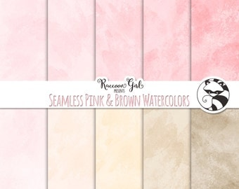 50% OFF Seamless Pink and Brown Watercolor Texture Digital Paper Set - Personal & Commercial Use