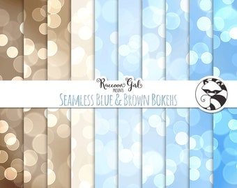 50% OFF Seamless Blue and Brown Bokeh Digital Paper Set - Personal & Commercial Use