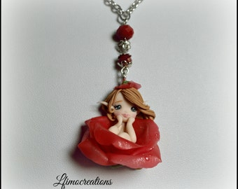 Necklace polymer clay handmade rose bud doll
