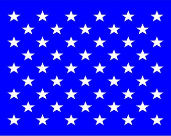 50 Stars US FLAG- **Reusable STENCIL**- Available in 14 sizes- Create 4th of July Star Signs w/your favorite Red White & Blue paint colors!