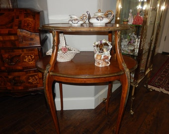 FRANCE ANTIQUE MARBLE Two Tiered Table