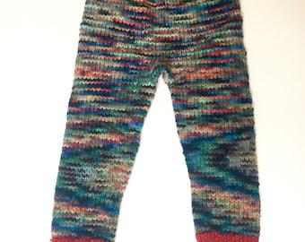 "Hand knit ""Brave"" wool longies, size large"