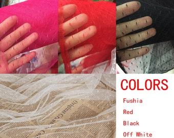 Black/Off White/Red/Fushia/Navy Blue Polka dot Tulle Fabric for Bridal Dress/ Veil/Evening Dress