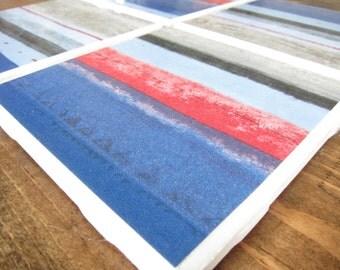 Set of 4 Blue Striped Drink Tile Coasters