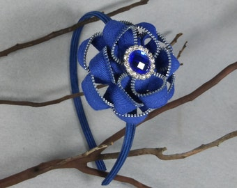 Blue Flower Headband - Zipper Flower -Zipper Headband - Upcycled - Recycled -Repurposed -Girls Headband -Womens Headband -Baby Headband