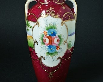 Kinjo Ware Nippon Pottery Vase - Japanese Hand Gilded Porcelain - Hand Painted Pottery - 1891 - 1911.
