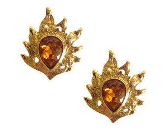 YVES SAINT LAURENT ~ Authentic Vintage Flame Orange Rhinestone Clip On Earrings