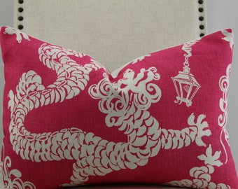 Lilly Pulitzer tail lights by Lee Jofa pink and white 14x20,12x20,14x18,pillow cover, accent pillow, decorative pillow,throw pillow.