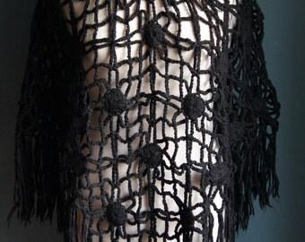 Hand crochet Poncho Cape Black