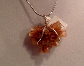 Fantastic Aragonite multi crystal cluster pendant wrapped in twisted silver wire