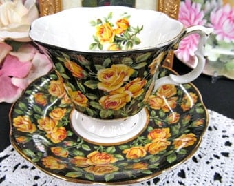 Royal Albert chintz tea cup and saucer Merrie England CHATSWORTH  yellow rose pattern