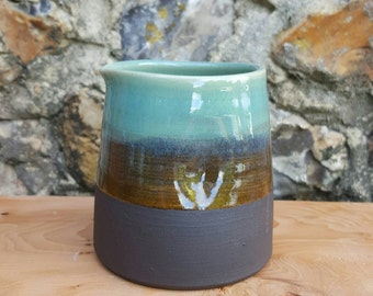 Little milk jug/ creamer, glazed turquoise green and black. Stoneware handmade ceramic