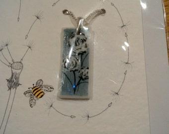 beautiful blue grey porcelain necklace