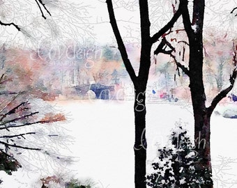 Watercolor Snowy Central Park New York Art Digital Photo