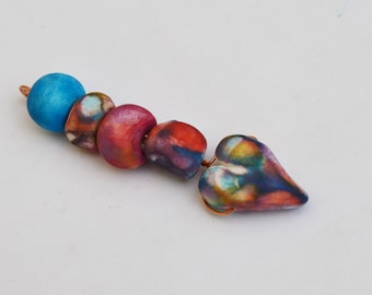 Faceted Heart and Beads Set ,Polymer Clay Bead Set, Handmade Polymer Clay,Set of 5 beads