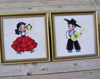 Dancers Spanish Flamenco Musicians Needlepoint ON SALE Fabric Art Vintage Tambourine Gypsy Stringed Instruments Spain Dance Pictures Art