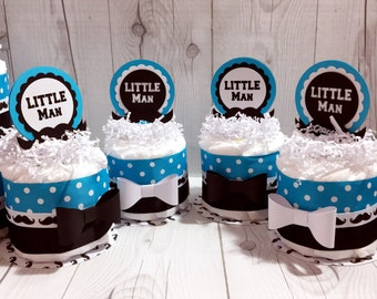 Set of 4 Turquoise & Black Mini Little Man Diaper Cake Centerpieces, Boy Diaper Cake, Baby Shower Centerpiece Set