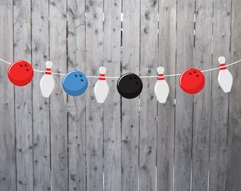Bowling Pin Garland, Bowling Pin Banner, Bowling Birthday Banner
