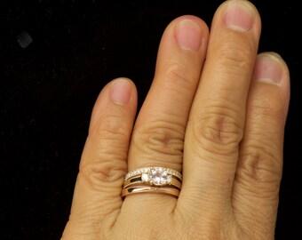 3-Stone Engagement Ring Set, Morganite Center with Diamond Accents, Vanessa B Diamond Band & Robin Criss-Cross Milgrain Stacker, Amelia Set