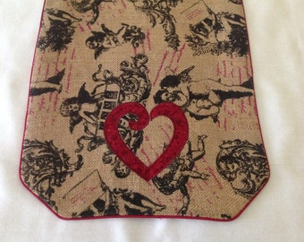 Cupids, Hearts and Love Burlap Table Runner