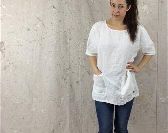Loose Linen Top / Shirt / Tunic / Pockets