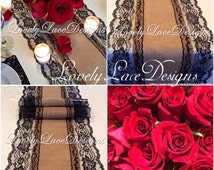 Burlap Lace Table Runner/Black Lace, 3ft-10ft x 13in Wide, Black /Wedding Decor/Weddings/ Tabletop Decor/Decoration/Centerpiece/FREE RUNNER