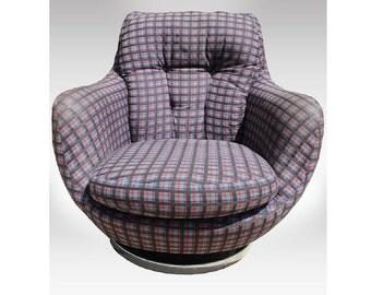 Vintage Milo Baughman Thayer Coggin Swivel Tub Chair Mid Century Modern  Plaid