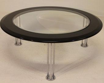 Mid Century Modern Black Glass Chrome Coffee Table by Milo Baughman for DIA