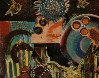 Original Mixed Media Art Collage - In the Night