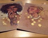 Honey - Set of 2, Hand-embellished prints