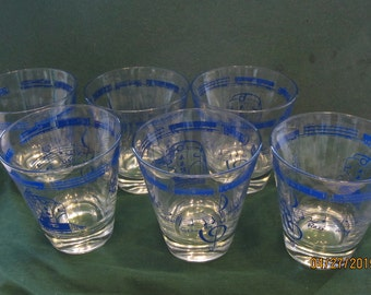 "Association of American Railroad 6 Barware Glasses "" Grow Grow by Railway"""