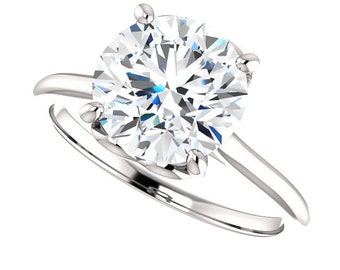 Forever One Moissanite Solitaire Engagement Ring| 3.10 Carats Forever One| 9.5mm Round Moissanite